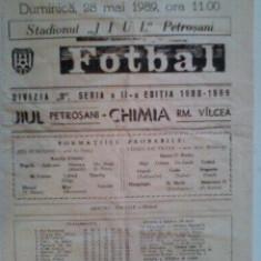Chimia Rm.Valcea-Jiul Petrosani (28 mai 1989) - Program meci