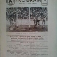 Sportul Studentesc-Chimia Rm.Valcea (6 aprilie 1986) - Program meci