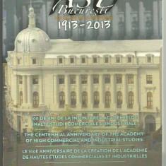 ROMANIA 1 LEU 2013, 100 Ani Infiintarea ASE Bucuresti, Tombac, cert BNR nr 225 - Moneda Romania
