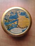 Cutie rotunda de colectie veche Pastilles Valda Paris reclama farmaceutica pastila logo cutiuta cu capac design stil Art Nouveau anii 1900