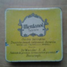 Cutie de colectie reclama veche Mentanol Tablete Dr. Wander S.A. Bucuresti farmaceutica pastila logo cutiuta design stil Art Nouveau Deco interbelica