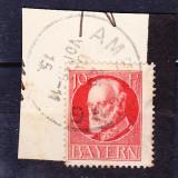 Timbre BAYERN 1916/*114A = KONIG LUDWIG III (1845-1921), ST., Wz.4, PE FRAGMENT DE PLIC