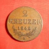 Moneda 2 Kr.1848 Austria, bronz, cal.F.Buna, Europa