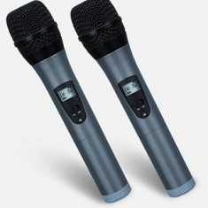 PROMOTIE ! SET 2 MICROFOANE PROFESIONALE WIRELESS UHF METALICE, AFISAJ LCD PE MICROFOANE+RECEIVER CU AFISAJ LCD SI REGLAJ VOLUM, SUNET HI FI. - Microfon