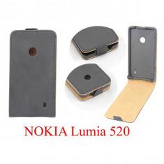 Husa toc Nokia Lumia 520 + folie ecran - Husa Telefon Nokia, Negru, Piele Ecologica