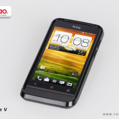 Husa TPU 2 in 1 + Folie Protectie HTC One V by Yoobao Originala Black - Husa Telefon