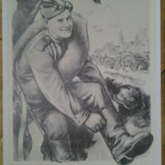 Poster afis sovietic comunist comunism lupta de clasa reproducere din 1973 propaganda politica URSS Soviet Russia Rusia comunistii WWII anti nazist