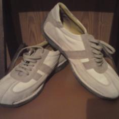 Pantofi primavara toamna - Pantofi barbat, Marime: 41-42, Culoare: Alb, 41-42, Piele intoarsa