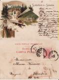 Salutari din Sinaia (Peles)  - Litografie 1900- tema regala