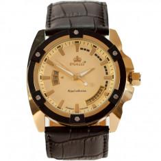 Ceas de Lux Promado Herakles - Royal Collection , yellow-gold - black, mecanism japonez HATTORI ~ placat cu aur  ~ ! ! !