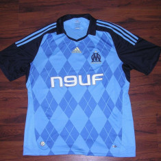 Tricou original Olympique Marseille, sezonul 2008-2009, Adidas - Tricou barbati Adidas, Marime: M, Culoare: Albastru, M, Albastru, Poliester