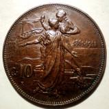 C.296 ITALIA VITTORIO EMANUELE III 50 ANI ANIVERSARE REGAT 10 CENTESIMI 1911 R, Europa, Bronz