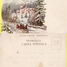 Salutari din Romania - Sinaia (Peles) - Litografie 1900- tema regala-edit. Bucuresti
