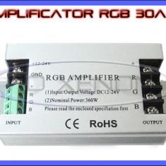 AMPLIFICATOR RGB 30 AMPERI - PERMITE ALIMENTARE CU UN SINGUR CONTROLLER A BENZILOR LED RGB 3528, 5050