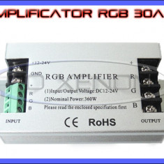 AMPLIFICATOR RGB 30 AMPERI - PERMITE ALIMENTARE CU UN SINGUR CONTROLLER A BENZILOR LED RGB 3528, 5050 ZDM