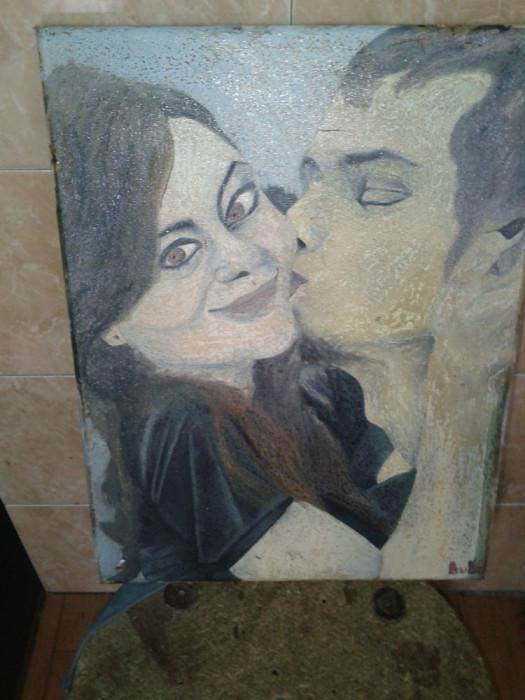 pictura in ulei pe pinza ,fara rama .reducere foto mare
