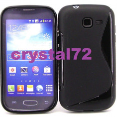 Livrare gratuita! Husa termorezistenta silicon-gel TPU neagra pentru Samsung Galaxy Trend Lite Duos S7392 + folie ecran + laveta, calitate - Husa Telefon Samsung, Negru