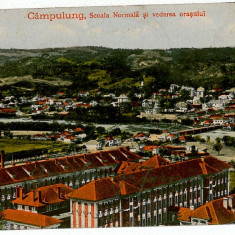 2071 - Arges, CAMPULUNG, liceul - old postcard, CENSOR - used - 1917