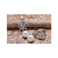 CERCEI DAMA FASHION OCAZIE CU PERLA MODEL COROANA - Cercei perla