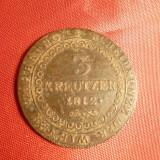Moneda 3 Kr.1812 lit.B bronz, Austria, cal.Buna-F.Buna, Europa