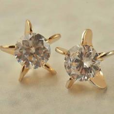 Cercei dublu placati aur 18k cristale zirconiu, cod produs FL19 - Cercei placati cu aur