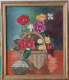 "Tablou - ""Flori"" Anonim (Nesemnat) - Dimensiuni 52x44"