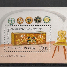 Ungaria.1981 Ziua marcii postale:Lada de zestre-Bl. SU.277 - Timbre straine