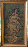 Tablou Corabie-Semnatura indescifrabila-Dimens 30x60cm -ulei pe panza in relief