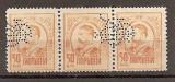 "SD Romania 1908 LP66- Carol I gravate, 50 Bani, streif de 3 timbre, PERFIN ""BCR"""