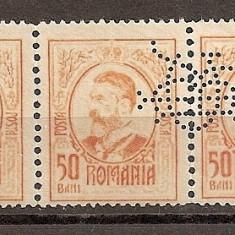SD Romania 1908 LP66- Carol I gravate, 50 Bani, streif de 3 timbre, PERFIN