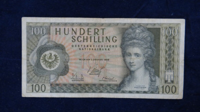 AUSTRIA - Bancnota 100 Schilling foto