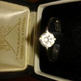 Inel solitar solitaire aur alb cu diamant - Inel aur