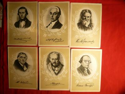 Set 9 carti postale : Scriitori Rusi 1958 foto