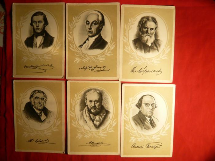 Set 9 carti postale : Scriitori Rusi 1958