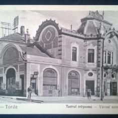 Vedere Turda - Teatrul Orasenesc - Vedere veche circulata tarziu - Carte Postala Transilvania dupa 1918