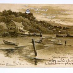 Carte postala - ARTA - Lac, Cabana, Peisaj, Barca - circulata 1902 - 2+1 gratis toate produsele la pret fix - RBK4002