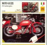 432 Foto Motociclism - MOTO GUZZI 250 GAMBALUNGHINO  - ITALIA  -1951 -pe verso date tehnice in franceza -dim.138X138 mm -starea ce se vede