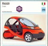 406 Foto Motociclism - PIAGIO 3 ROUES-TRICICLU -PROTOTYPE- ITALIA  -1990 -pe verso date tehnice in franceza -dim.138X138 mm -starea ce se vede