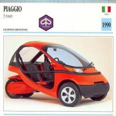 406 Foto Motociclism - PIAGIO 3 ROUES-TRICICLU -PROTOTYPE- ITALIA -1990 -pe verso date tehnice in franceza -dim.138X138 mm -starea ce se vede - Fotografie