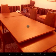Masa extensibila din lemn masiv cu 6 scaune living, dining - Masa living