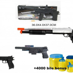 Mega set airsoft compus din PISTOL MITRALIERA +TRANCAN+PISTOLET AMORTIZOR+PISTOL, 6mm+4000 bile BONUS! - Arma Airsoft