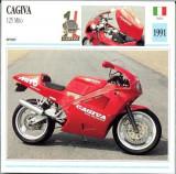 407 Foto Motociclism - CAGIVA 125 MITO - ITALIA  -1991 -pe verso date tehnice in franceza -dim.138X138 mm -starea ce se vede