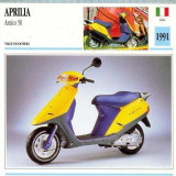 414 Foto Motociclism -APRILIA AMICO 50 -SCOOTER - ITALIA -1991 -pe verso date tehnice in franceza -dim.138X138 mm -starea ce se vede - Fotografie