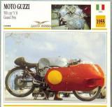 426 Foto Motociclism - MOTO GUZZI 500 CM3 V 8 GRAND PRIX  - ITALIA  -1955 -pe verso date tehnice in franceza -dim.138X138 mm -starea ce se vede