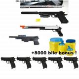 Mega set airsoft compus din PISTOL MITRALIERA +TRANCAN+PUSCOCI+5 PISTOALE COLT MK4,6mm+8000 bile BONUS!
