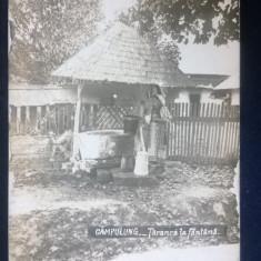 Campulung - Taranca in costum popular la fantana - cenzurata, circulata 1945