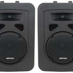 ECHIPAMENT COMPLET KARAOKE COMPUS DIN 2 BOXE, AMPLIFICATOR CU STICK, CARD, EFECTE SI SET 2 MICROFOANE KARAOKE. - Echipament karaoke