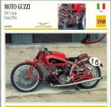 430 Foto Motociclism - MOTO GUZZI 500 V TWIN GRAND PRIX  - ITALIA  -1948 -pe verso date tehnice in franceza -dim.138X138 mm -starea ce se vede