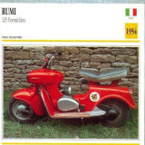 408 Foto Motociclism - RUMI 125 FORMICHINO -SCOOTER - ITALIA -1954 -pe verso date tehnice in franceza -dim.138X138 mm -starea ce se vede - Fotografie