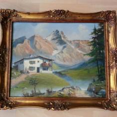 Tablou pictat in ulei pe panza cu munti 60cm/50cm cu semnatura anul 1956 - Pictor strain, Art Deco